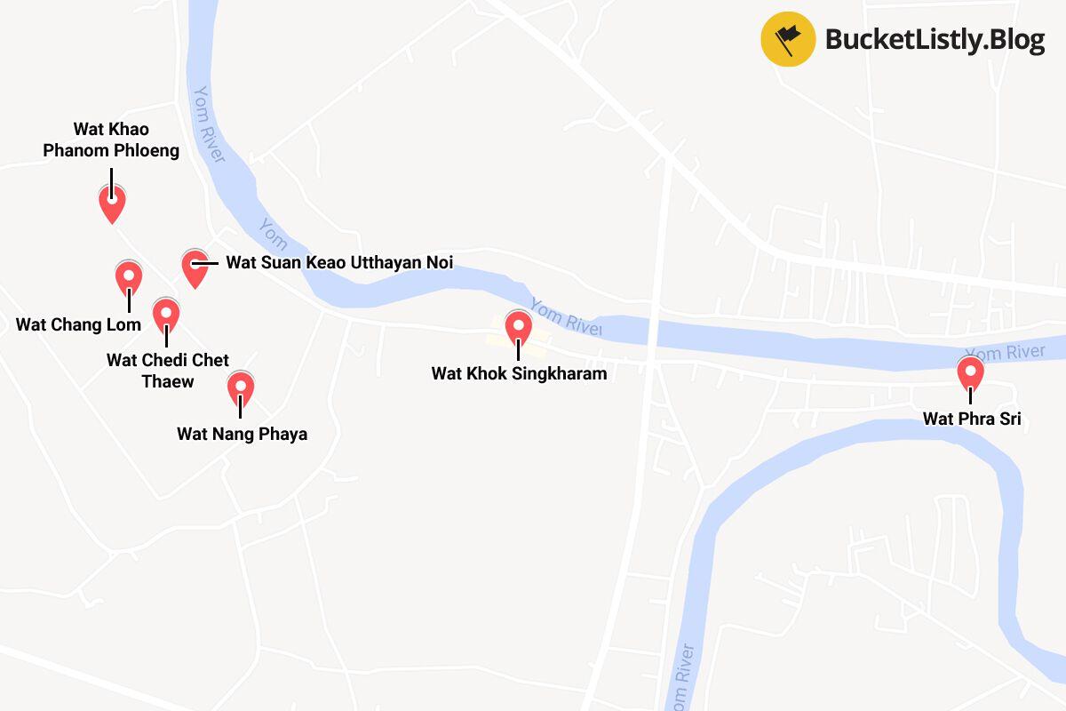 Si Satchanalai Itinerary Map