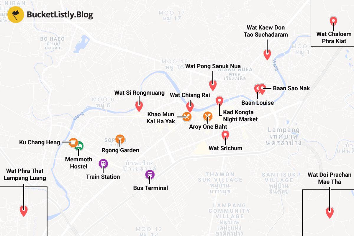 Lampang Itinerary Map
