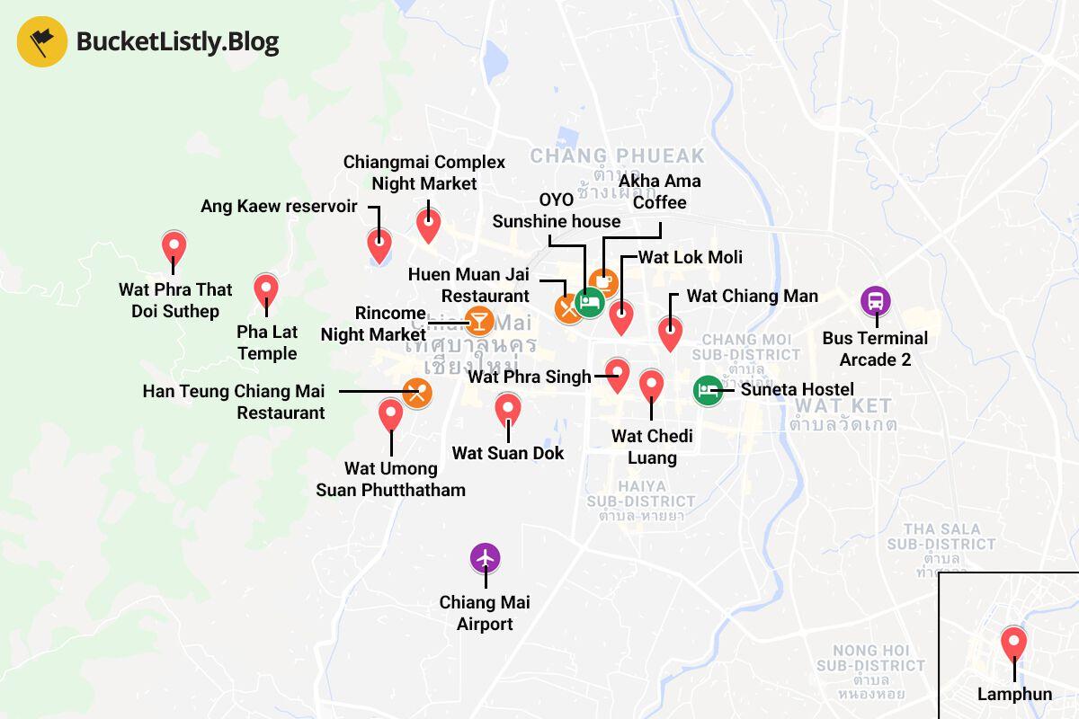 Chiang Mai Itinerary Map