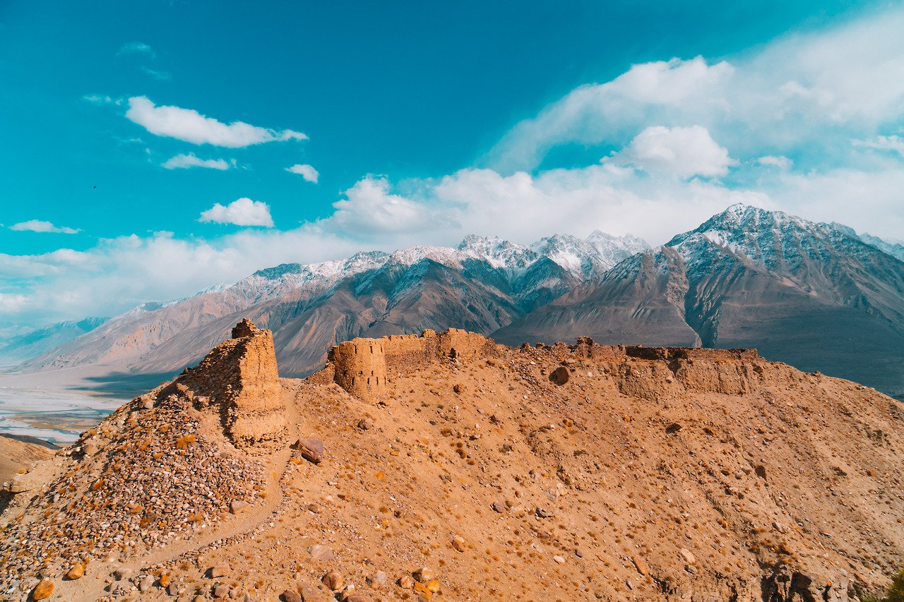 A crumbling castle found along the Wakhan Corridor overlooking Afghanistan on the Pamir Highway.