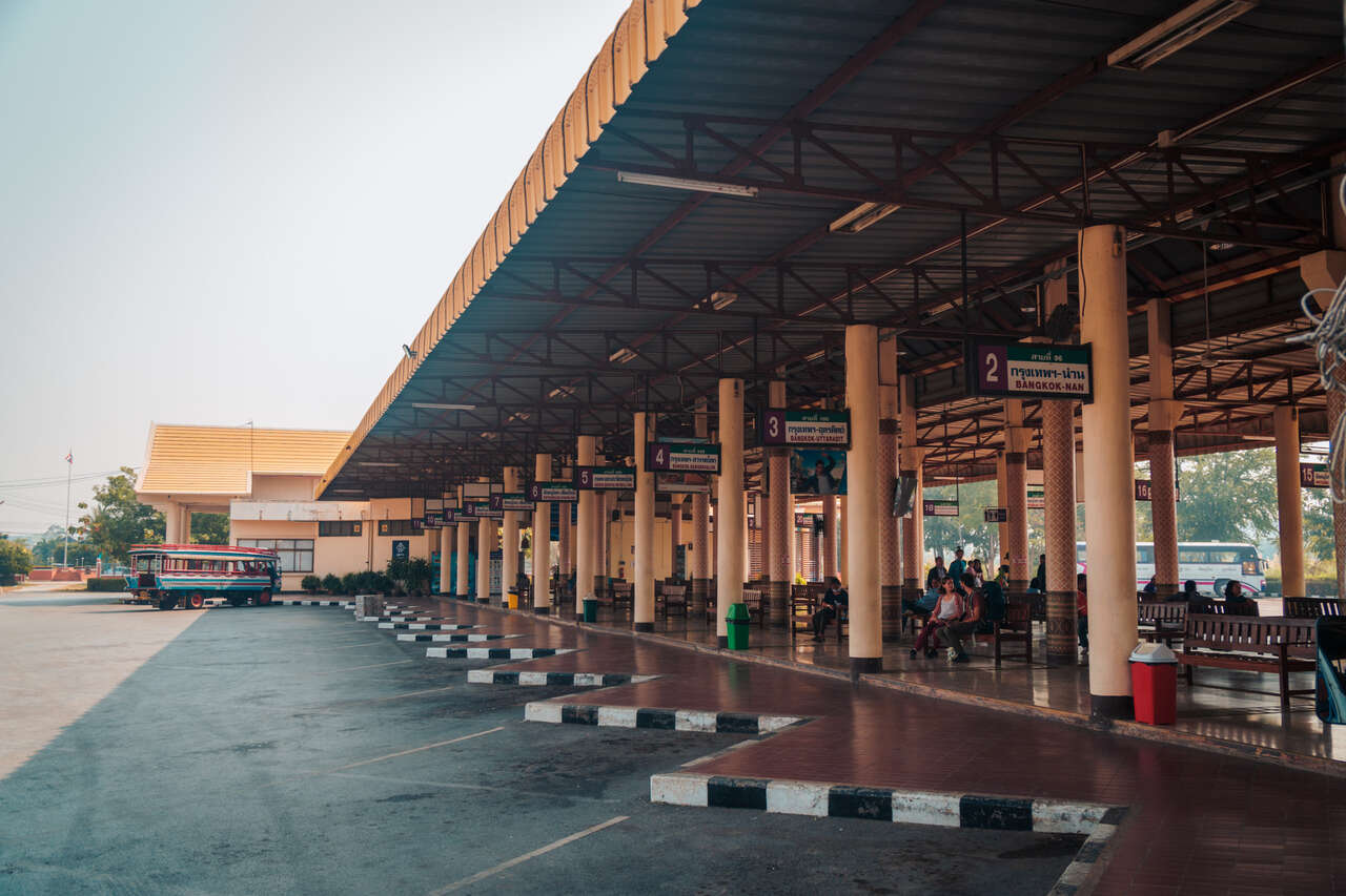 The bus terminal in Sukhothai New Town in Thailand