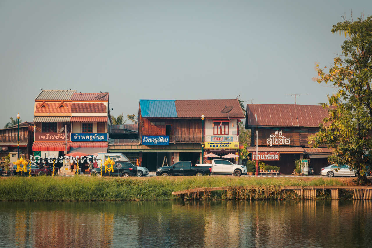 Houses in Sukhothai Old City in Thailand