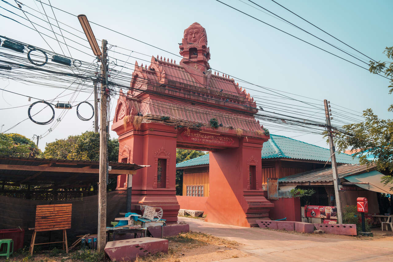 The entrance to Wat Phra Sri at Si Satchanalai in Thailand.