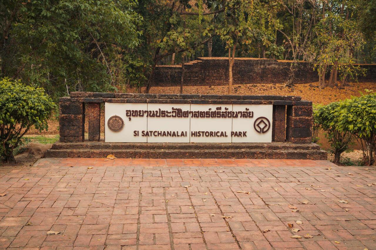 Si Satchanalai Historical Park sign in Thailand.