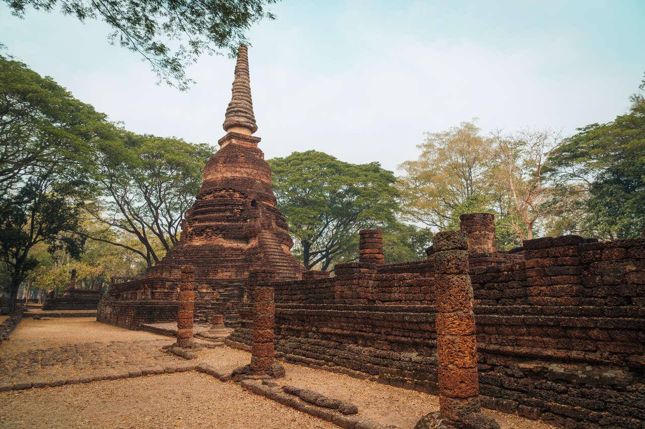 The exterior of Wat Nang Phaya in Si Satchanalai, Thailand