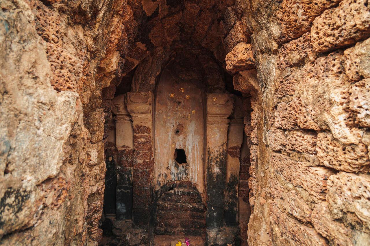 The interior of Wat Nang Phaya in Si Satchanalai, Thailand