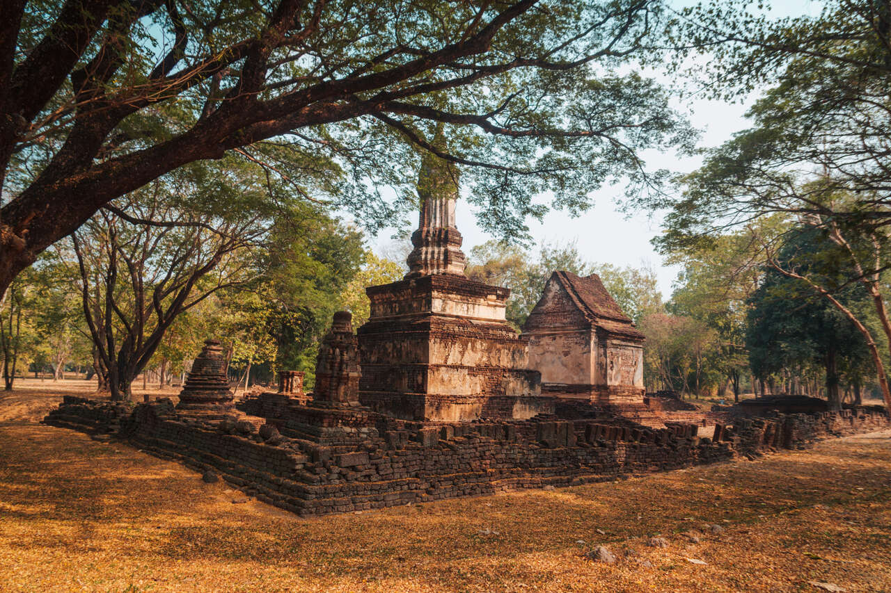 The exterior of Wat Suan Keao Utthayan Noi in Si Satchanalai, Thailand