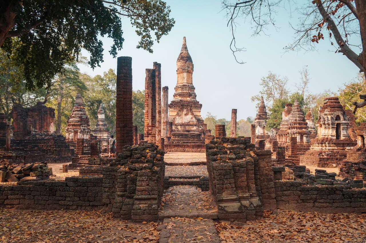 The exterior of Wat Chedi Chet Thaew in Si Satchanalai, Thailand