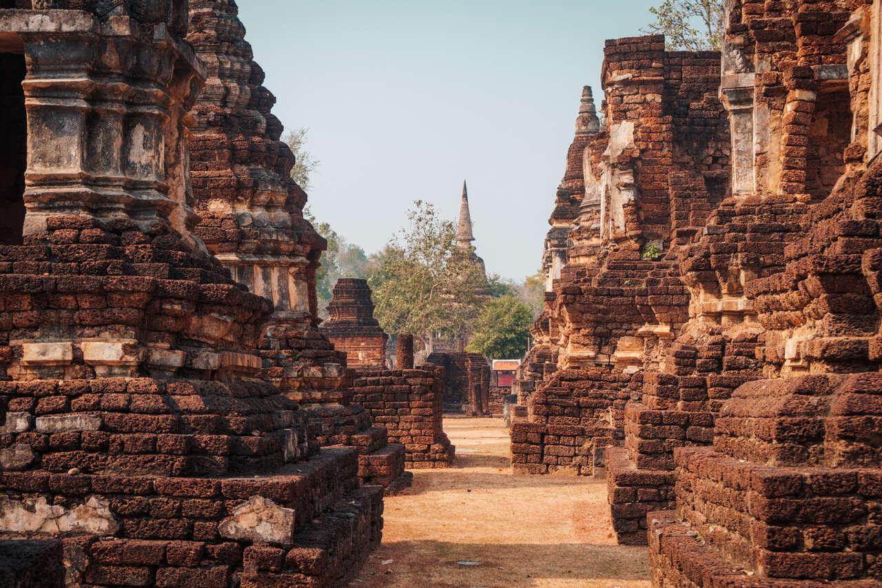 All the chedis at Si Satchanalai in Thailand.