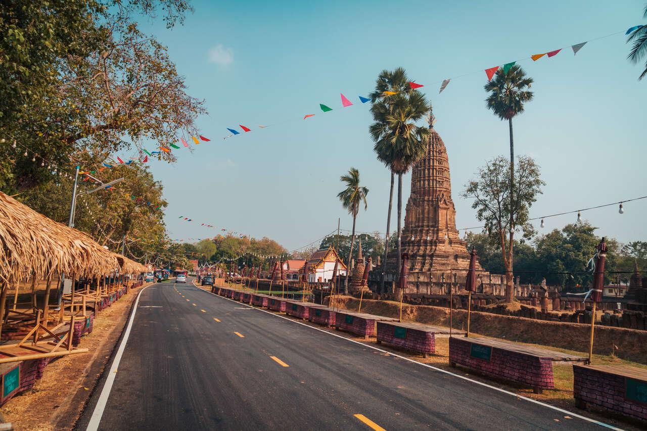 The road inside Wat Phra Sri toward Si Satchanalai Historical Park in Thailand.