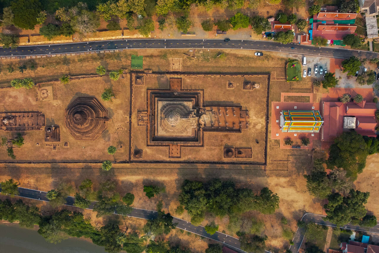 A bird's eye view of Wat Phra Sri in Si Satchanalai, Thailand from a drone