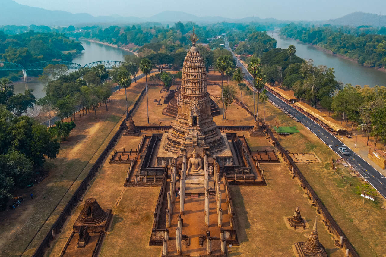 Wat Phra Sri at Si Satchanalai in Thailand from a drone.