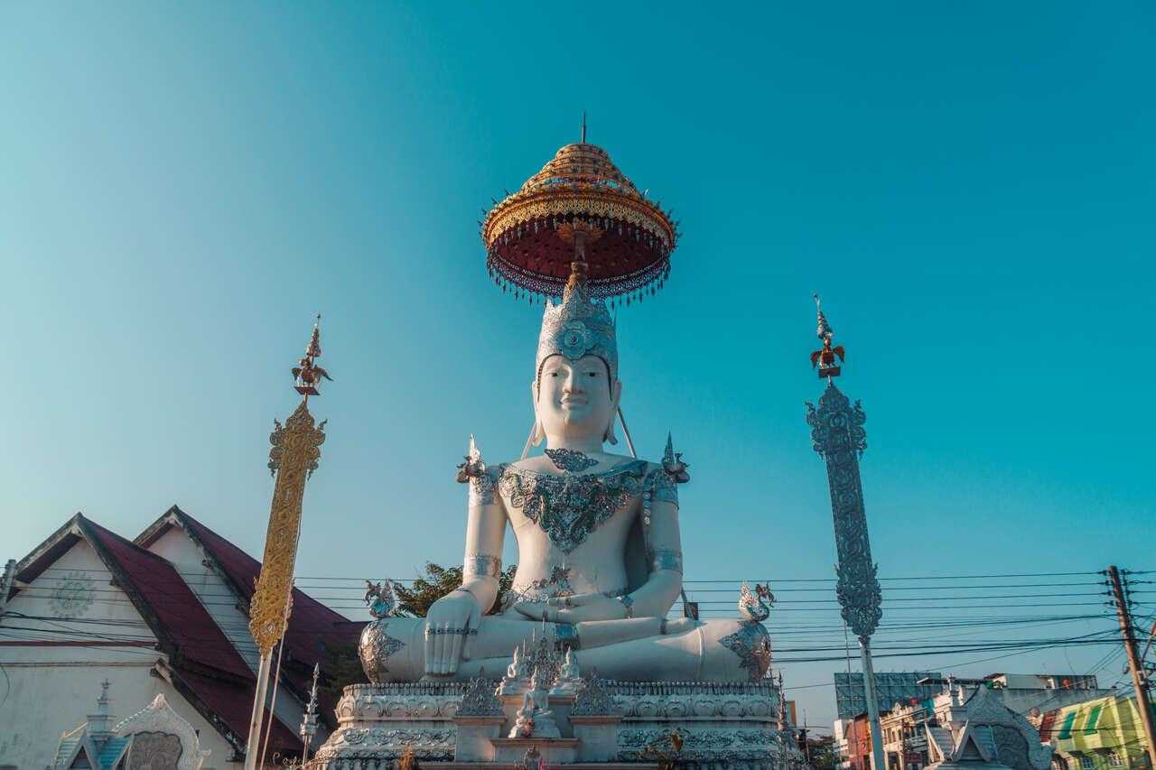 A large Buddha image at Wat Chiang Rai in Lampang, Thailand.