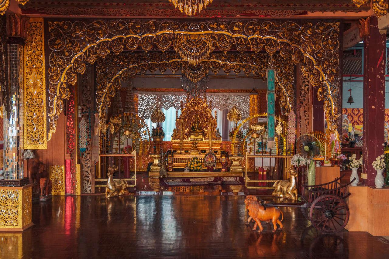 The interior of the assembly hall in Wat Chiang Rai, Lampang, Thailand.