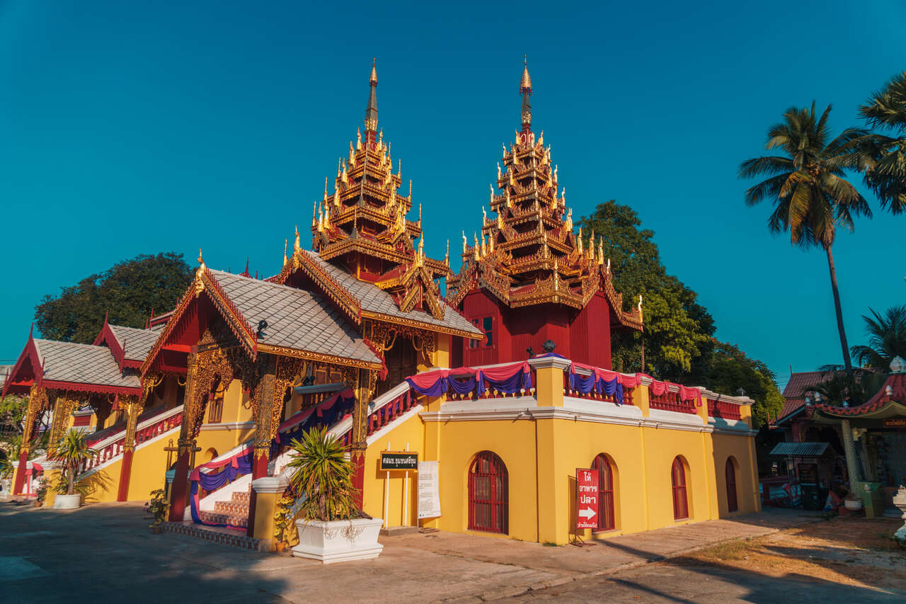 The exterior of Wat Srichum in Lampang, Thailand