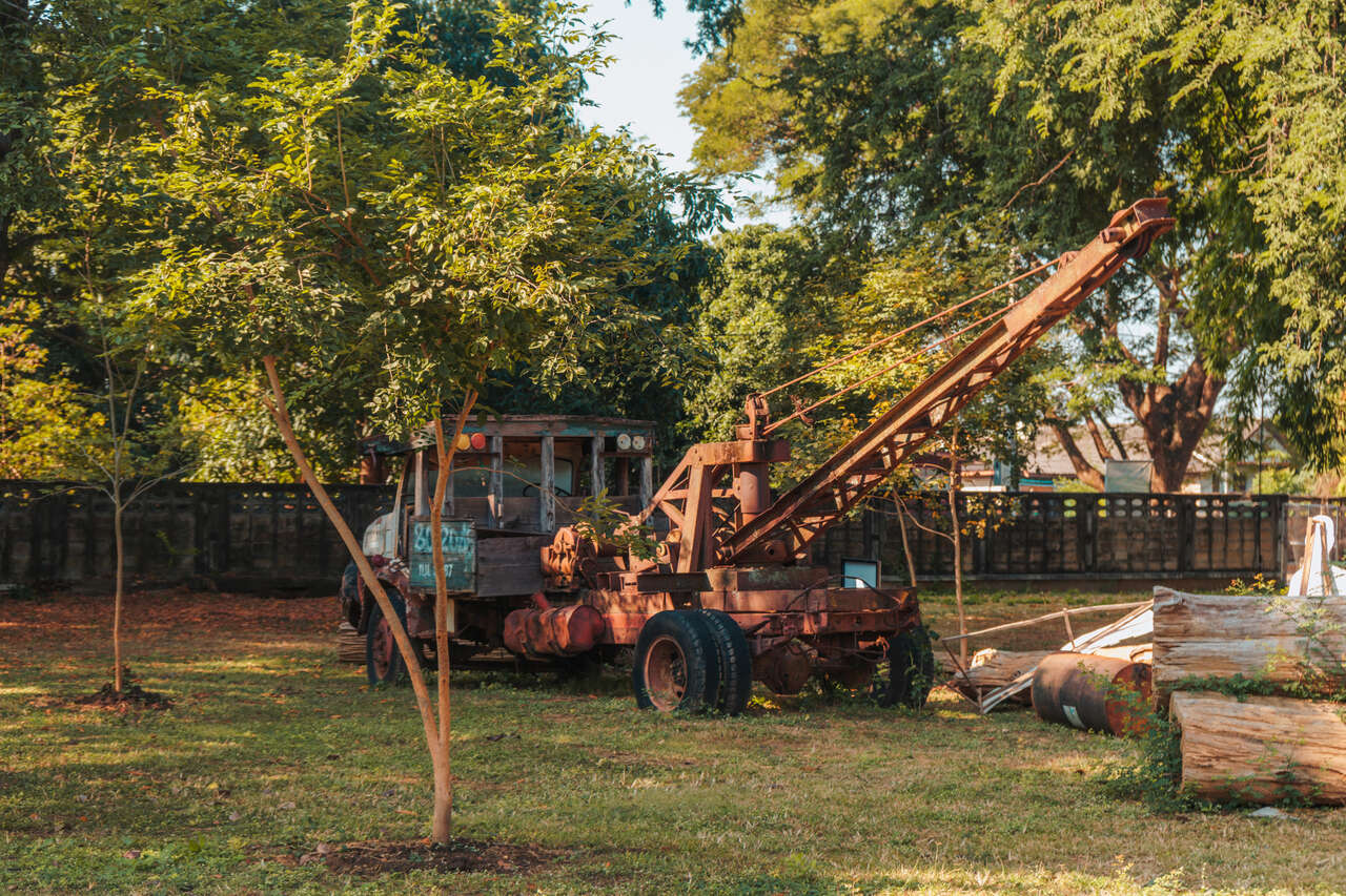 An old logging truck in Lampang, Thailand