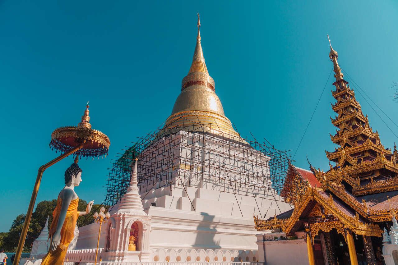 The giant pagoda inside Wat Kaew Don Tao Suchadaram in Lampang, Thailand