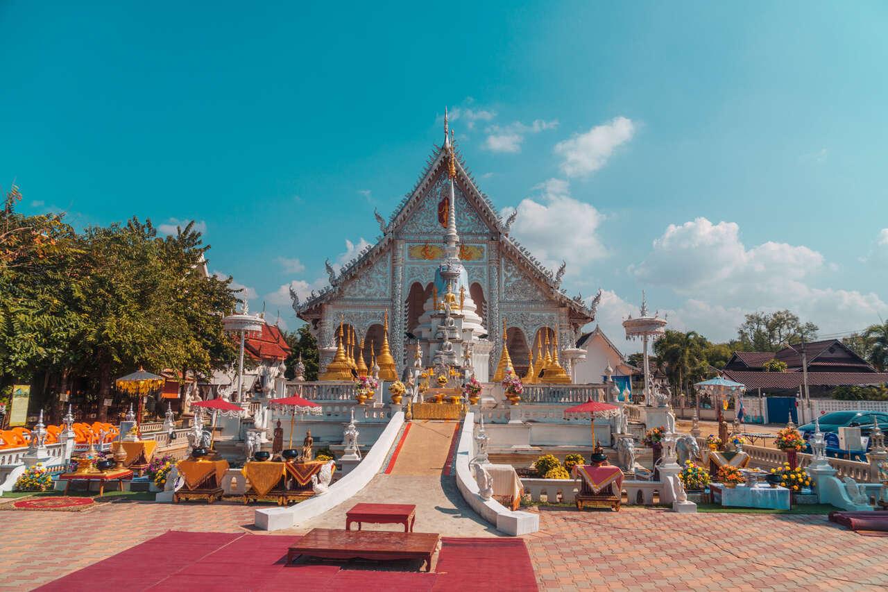 The exterior of Wat Chiang Rai in Lampang, Thailand.