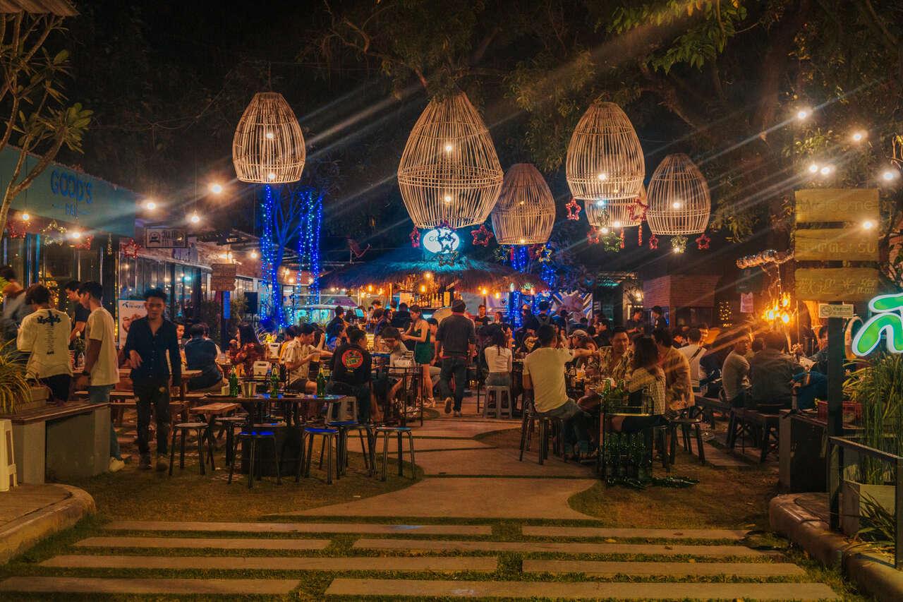 A busy night at Rgong Garden in Lampang, Thailand.