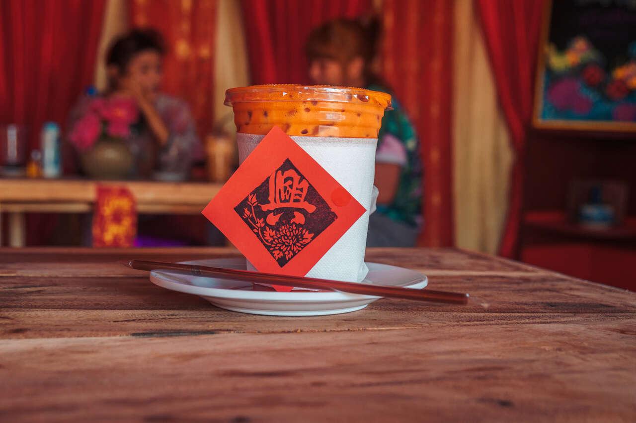 A delicious Thai Milk Tea at Ku Chang Heng in Lampang, Thailand.