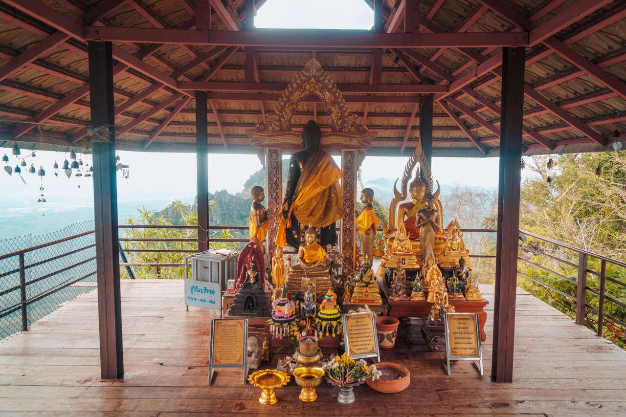 A small prayer area at Wat Chaloem Phra Kiat in Lampang, Thailand.