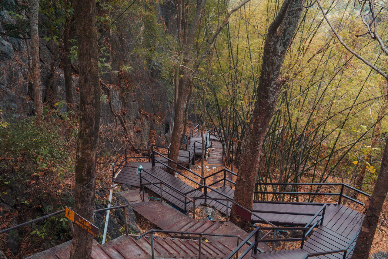 A path up to the top of Wat Chaloem Phra Kiat in Lampang, Thailand.
