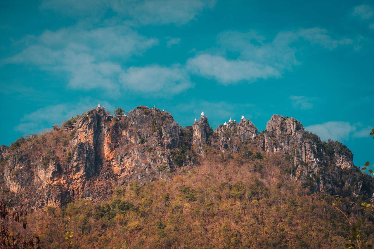 Wat Chaloem Phra Kiat from the bottom in Lampang, Thailand.