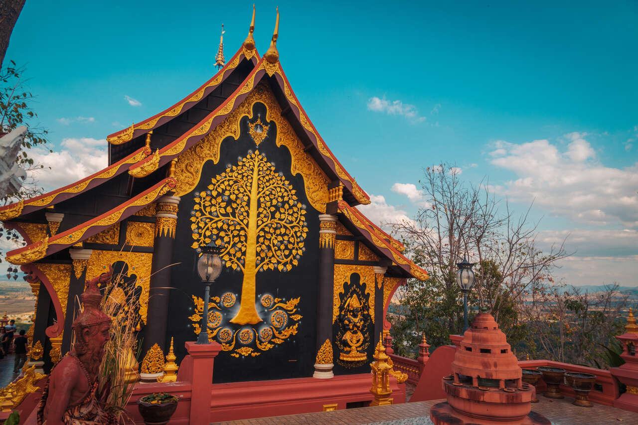 The exterior of Wat Doi Prachan in Lampang, Thailand.