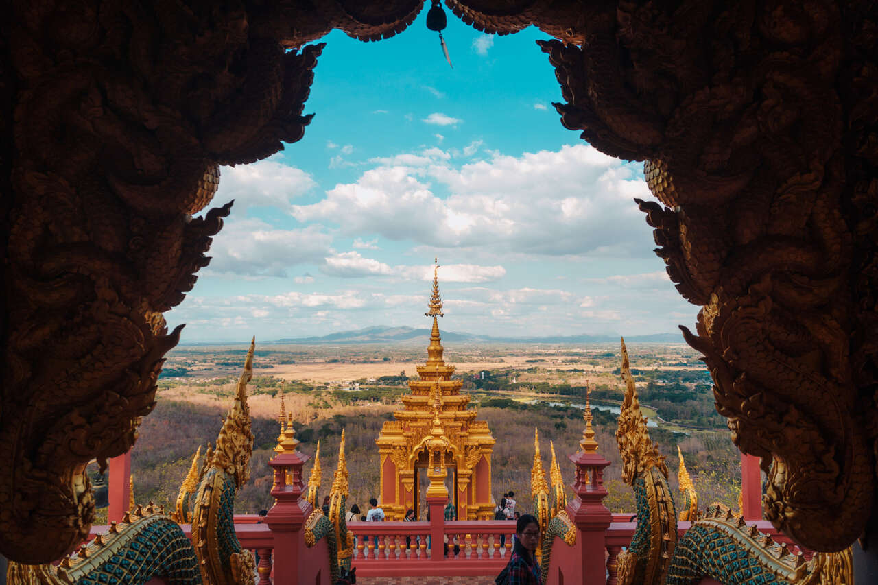 The view of the mountain from inside Wat Doi Prachan in Lampang, Thailand.