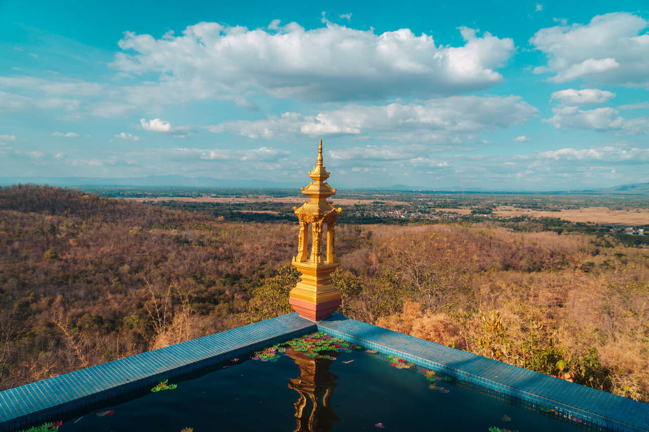 The view from the platform outside of Wat Doi Prachan in Lampang, Thailand.