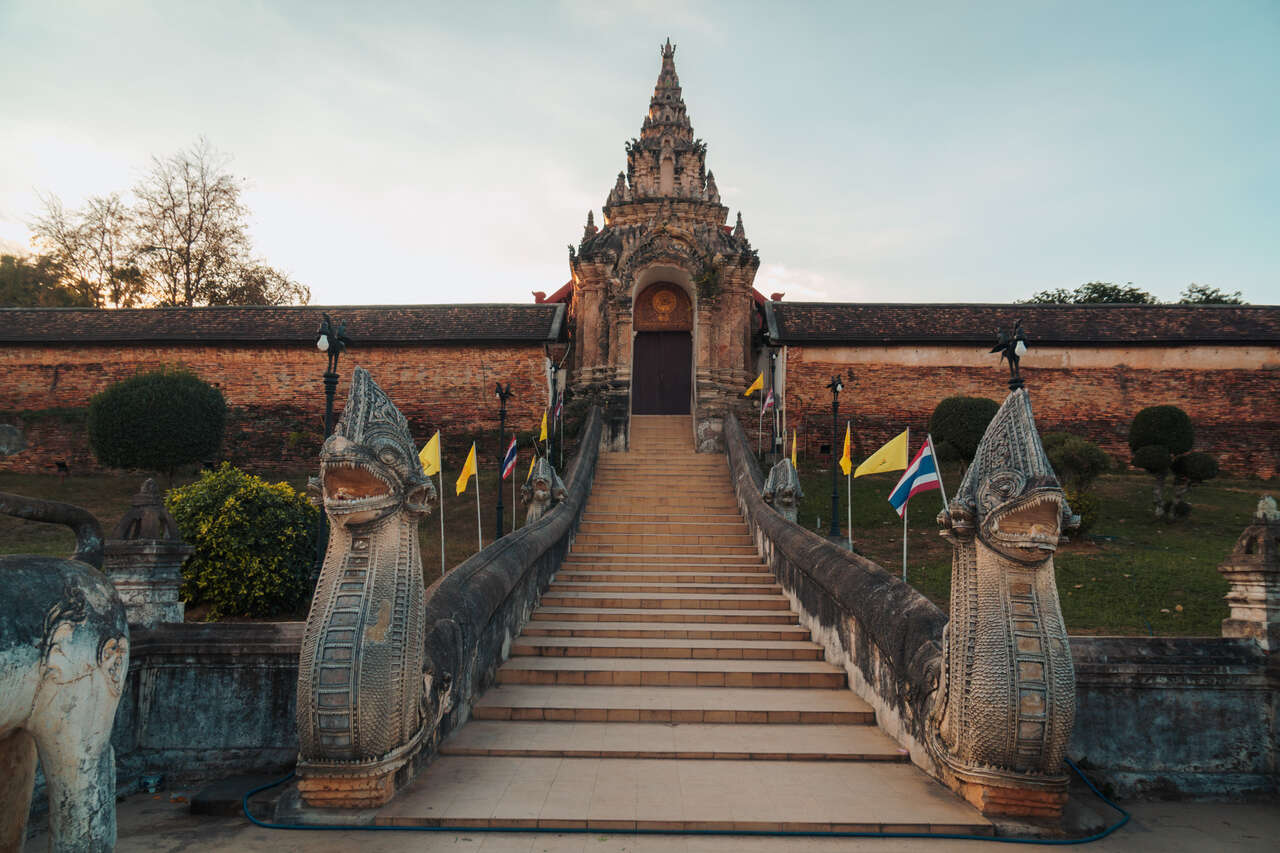 The entrance to Wat Phra That Lampang Luang in Thailand.
