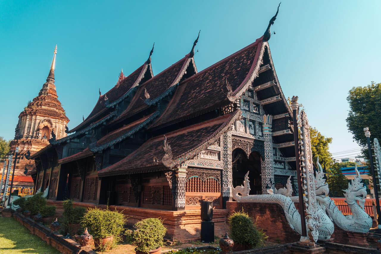 The teakwood temple in Wat Lok Moli in Chiang Mai, Thailand.