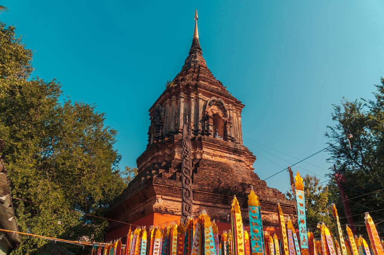 The old chedi of Wat Lok Moli in Chiang Mai, Thailand.
