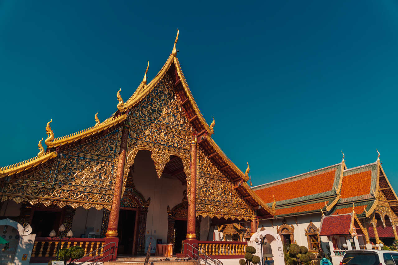 The exterior of Wat Chiang Man in Chiang Mai, Thailand.