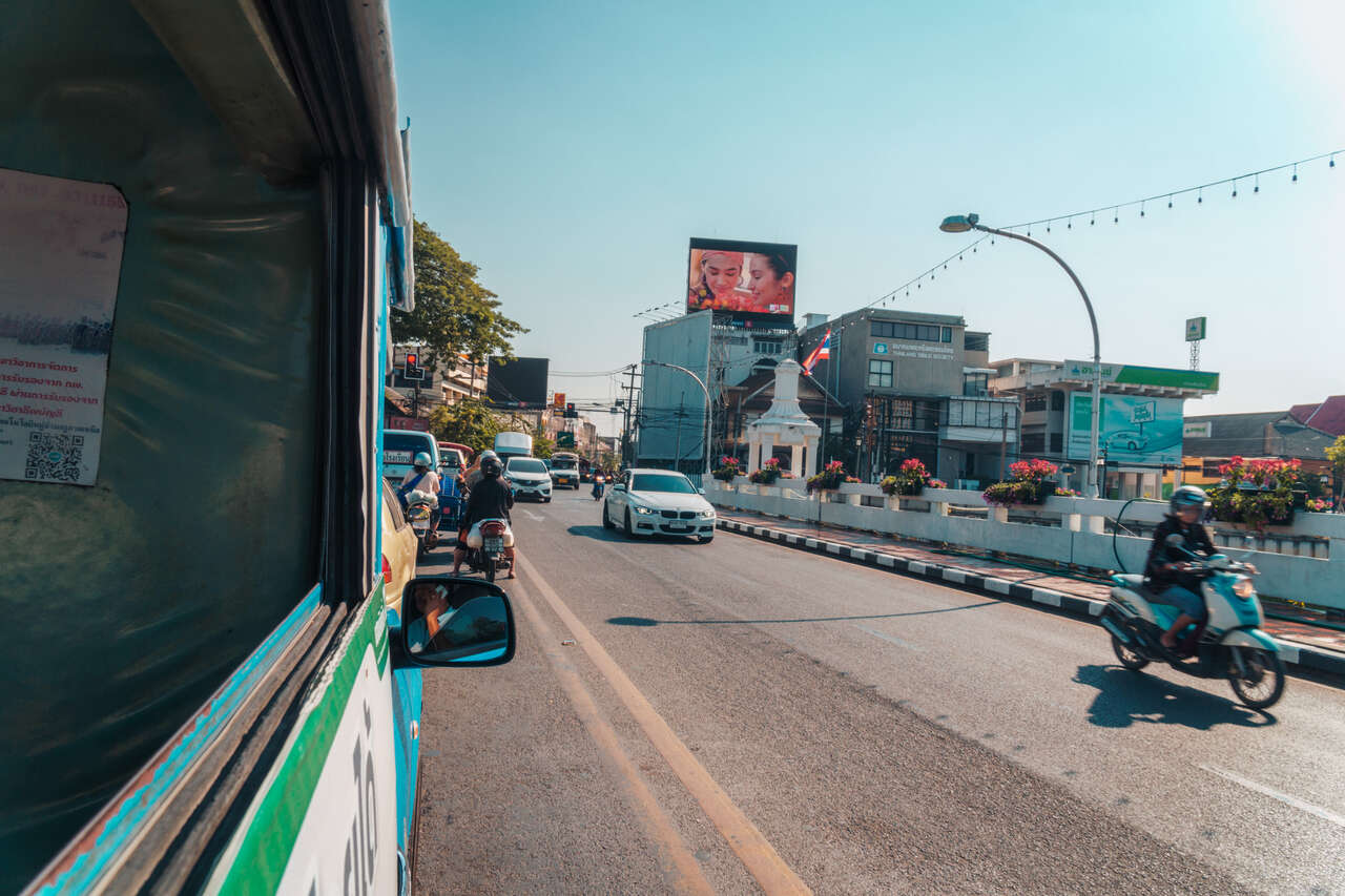 Inside a blue song taew from Chiang Mai to Lamphun in Thailand