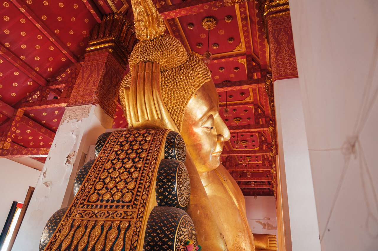 The Revered Reclining Buddha Image at Wat Pa Mok Worawihan in Ang Thong from the side