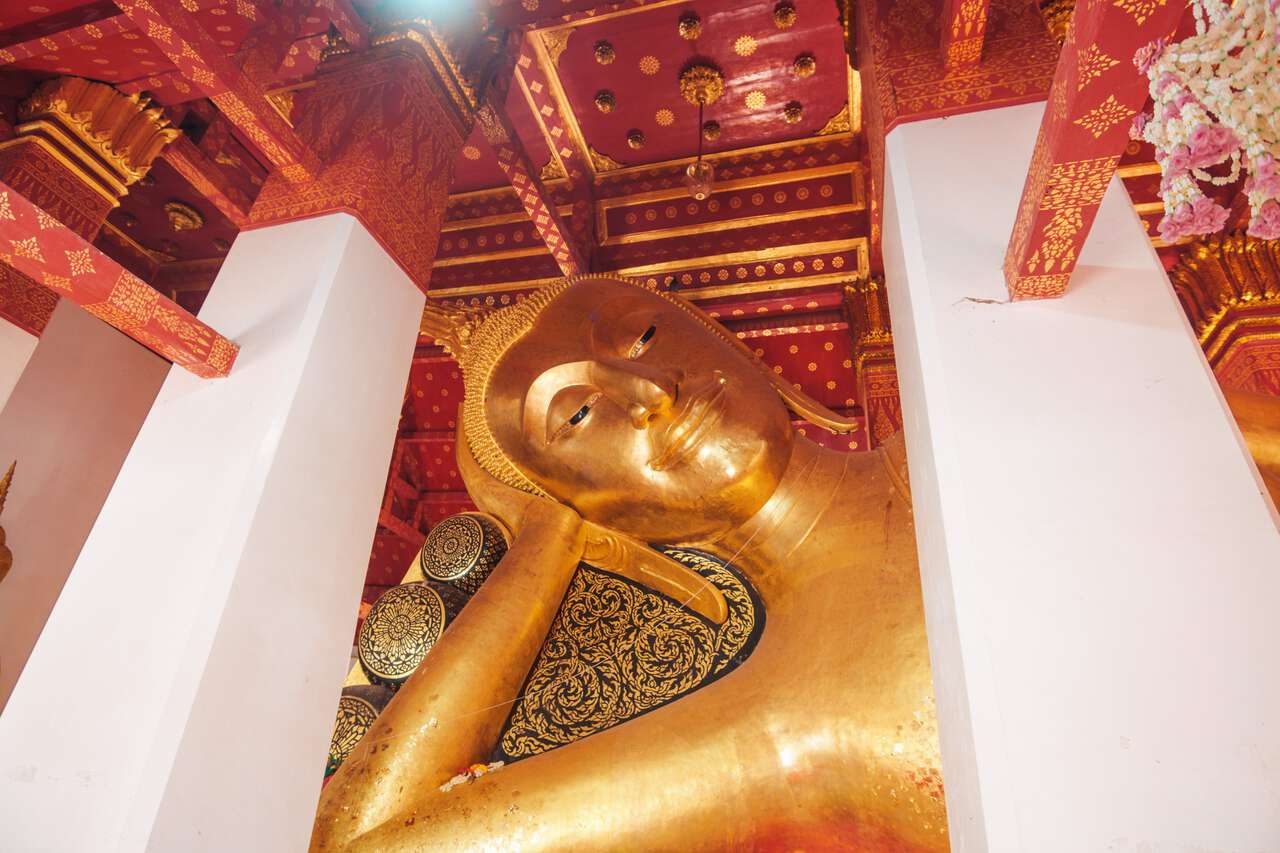 The Revered Reclining Buddha Image at Wat Pa Mok Worawihan in Ang Thong