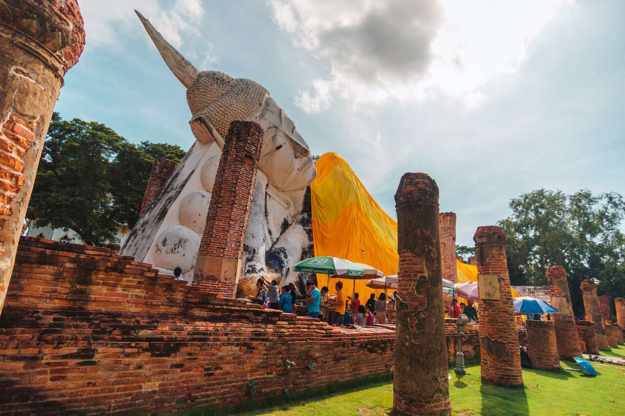 The ruins around the reclining Buddha at Wat Khun Inthapramun in Ang Thong