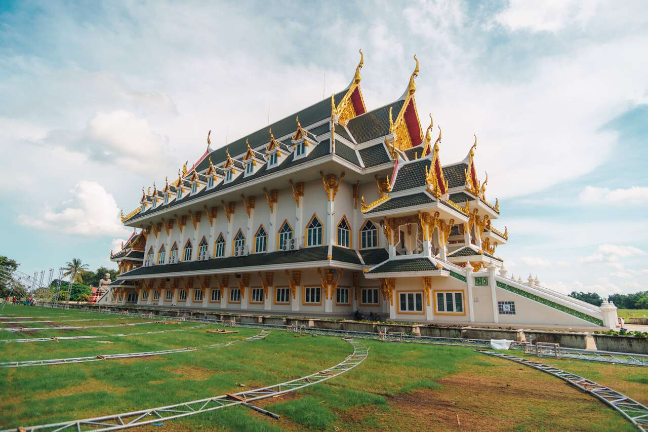 A newly built temple hall at Wat Khun Inthapramun in Ang Thong