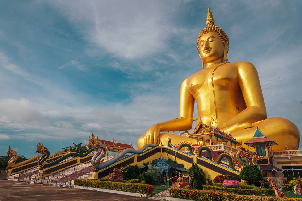 The Great Buddha of Thailand in Ang Thong from the ground