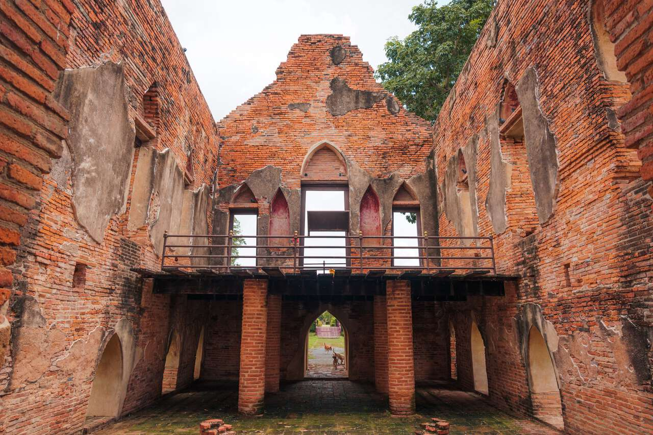 The interior of Phra Tamnak Kham Yat Ruin in Ang Thong
