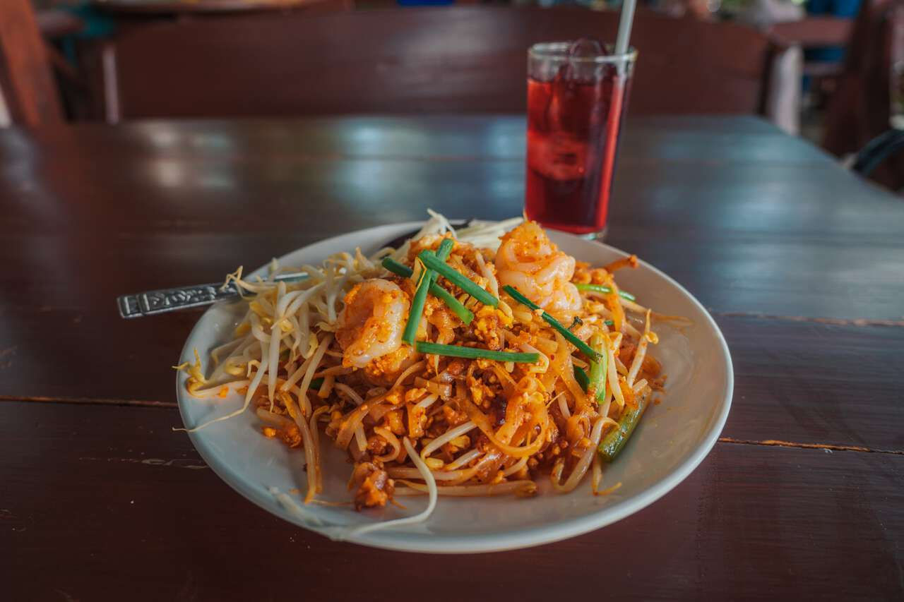 A Prawn Pad Thai dish at Niramit Restaurant in Ang Thong.