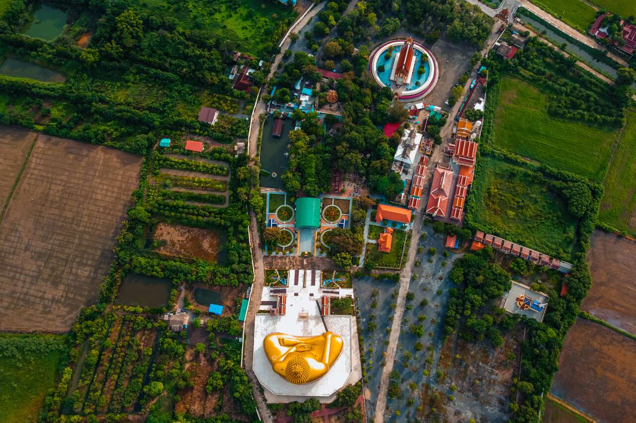 A bird's eye view of Wat Muang and the Great Buddha of Thailand in Ang Thong.