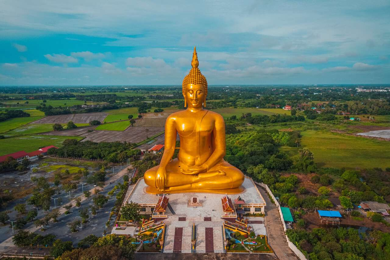 An aerial view of the Great Buddha of Thailand in Ang Thong